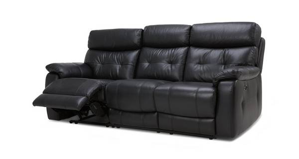 Bartley Leather and Leather Look 3 Seater Electric Recliner