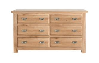 Wide Chest with 6 Drawers Bayside Oak