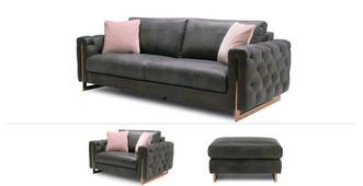 Belucci Clearance 3 Seater Sofa, Cuddler Sofa & Large Footstool
