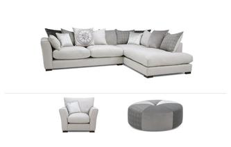 Large Corner Sofa, Chair & Footstool