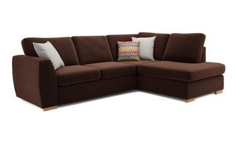 Bijoux Left Hand Facing Arm Open End Deluxe Corner Sofa Bed Sherbet