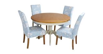 Bluebell Round Fixed Top Table & Set of 4 Upholstered Chairs