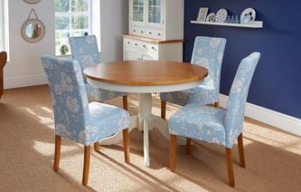 Bluebell Round Fixed Top Table & Set of 4 Upholstered Chairs Bluebell