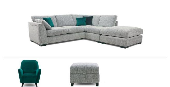 timeless design bf9ff 64184 Bohemian Clearance: Left Hand Facing Corner Sofa, Chair & Stool