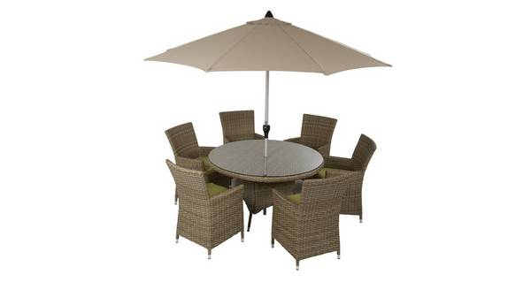 Bosana 6 Seater Dining Set & Parasol