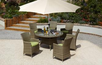 limited stock bosana 6 seater dining set parasol pu rattan