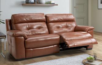 Bowness Leather and Leather Look 3 Seater Manual Recliner Brazil with Leather Look Fabric