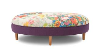 Brionna Small Floral Top Oval Footstool