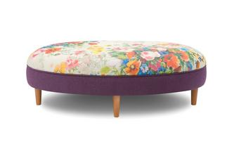 Small Floral Top Oval Footstool Brionna