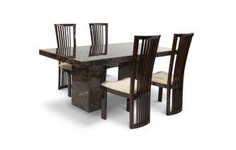 Rechthoekige tafel en 4 Salvadore stoelen Brisbane Marble