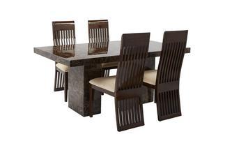 Rechthoekige tafel en 4 Lima stoelen Brisbane Marble