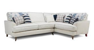 Burnham Cotton Stripe Left Hand Facing 3 Seater Corner Sofa
