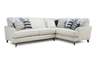 Cotton Stripe Left Hand Facing 3 Seater Corner Sofa