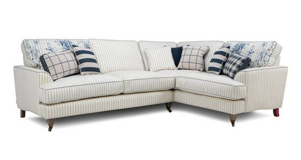 Burnham Cotton Stripe Left Hand Facing 3 Seater Corner Sofa