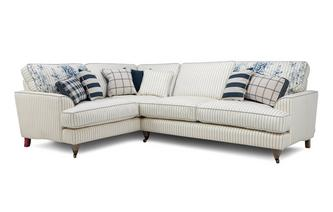 Cotton Stripe Right Hand Facing 3 Seater Corner Sofa