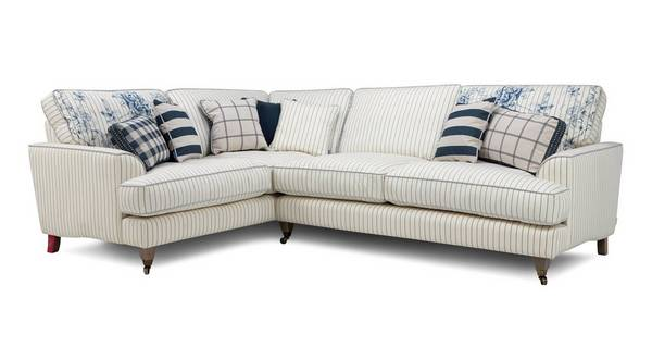 Burnham Cotton Stripe Right Hand Facing 3 Seater Corner Sofa