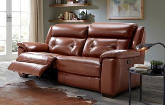 Byron 3 Seater Manual Recliner Brazil with Leather Look Fabric