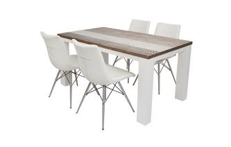 Medium Fixed Dining Table & Set of 4 Ambra Chairs