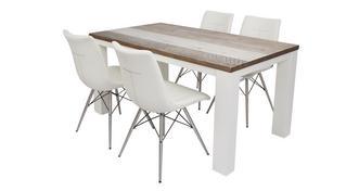 Cabrilo Groot eettafel en reeks van 4 Ambra stoelen