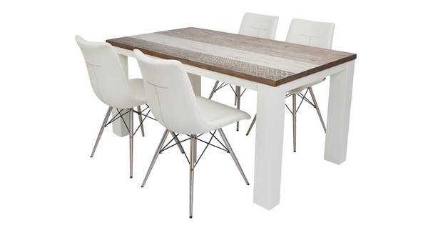 Cabrilo Large Fixed Dining Table & Set of 4 Ambra Chairs