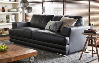 Calvino 3 Seater Leather and Leather Look Sofa Le Mans