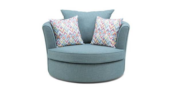 Calypso Large Swivel Chair with Pattern Scatters