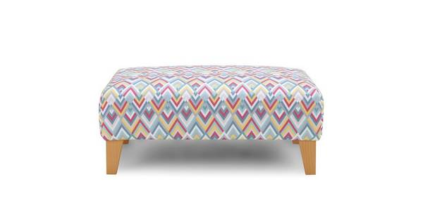 Calypso Pattern Banquette Footstool
