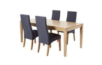 Extending Dining Table & Set of 4 Upholstered Chairs Camber