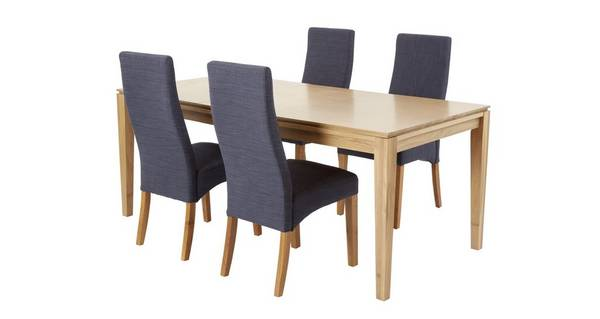 Camber Extending Dining Table & Set of 4 Upholstered Chairs