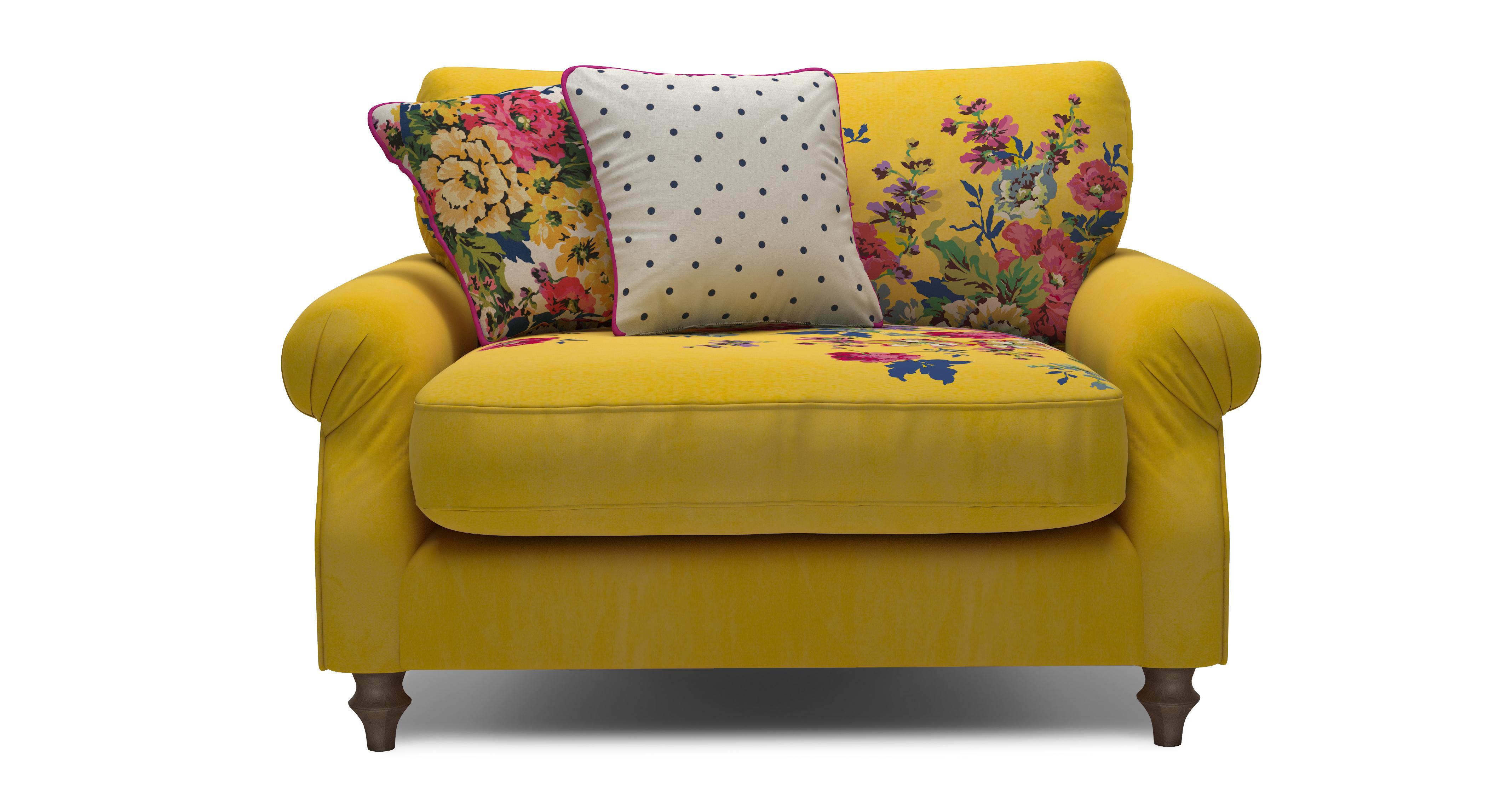 Cambridge Velvet Cuddler Sofa Cambridge Plain And Floral