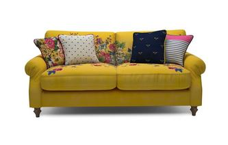 Velvet 3 Seater Sofa Cambridge Plain and Floral Velvet