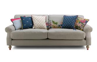 Cotton 4 Seater Sofa Cambridge Plain and Floral Cotton
