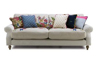 Velvet 4 Seater Sofa Cambridge Plain and Floral Velvet