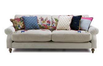 Velvet 4 Seater Sofa Cambridge Plain and Floral Velvet
