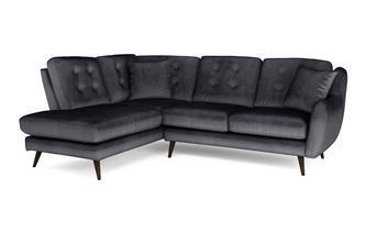 Velvet Right Hand Facing Arm Open End Corner Sofa