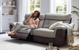 Carello 3 Seater Manual Recliner Bacio Vellutato