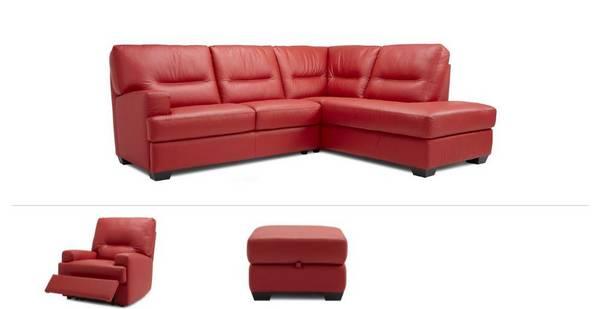 Cargo Clearance Left Arm Facing 2 Piece Corner Sofa, Power Chair & Stool