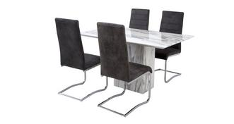 Carrera Fixed Dining Table & Set of 4 Cantilever Chairs