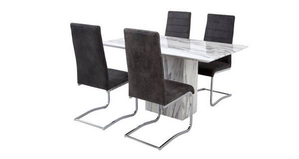 Carrera Vaste eettafel en reeks van 4 vrijdragende stoelen