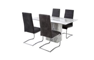 Fixed Dining Table & Set of 4 Pisa Chairs Carrera