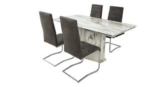 Carrera Extending Dining Table & Set of 4 Cantilever Chairs