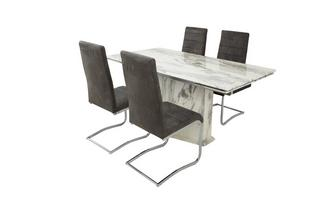 Extending Dining Table & Set of 4 Cantilever Chairs Carrera