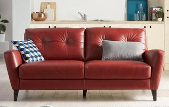 Carter Leather and Leather Look 3 Seater Sofa Hazen