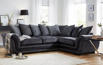Cassius Left Hand Facing 3 Seater Pillow Back Corner Sofa Cassius