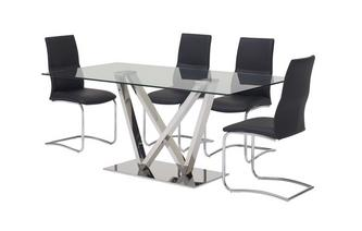 Fixed Top Table and 4 Livia Chairs