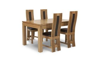 Small Extending Table & Set of 4 Chairs American Oak