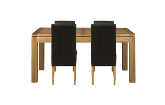 Small Extending Dining Table & Set of 4 Ariana Light Leg Chairs American Oak