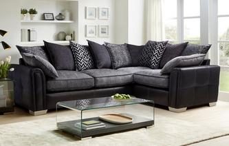 Cayanne Left Hand Facing Pillow Back 3 Seater Corner Sofa Carrara
