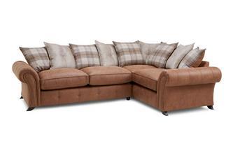 Left Hand Facing 3 Seater Pillow Back Corner Sofa