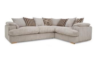 Left Arm Facing 2 Seater Pillow Back Deluxe Corner Sofa Bed Celine